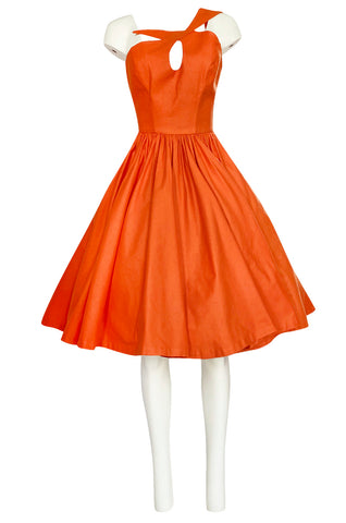 1980s Thierry Mugler One Shoulder Sculpted Orange Cotton Dress
