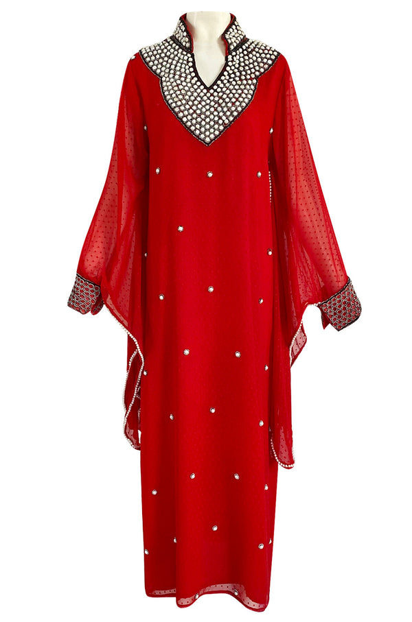 Striking 1970s Red Dotted Chiffon White Beaded Caftan Dress w Kimono Sleeves