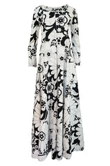 1960s Dynasty Graphic White & Black Floral Print Jersey Jumpsuit