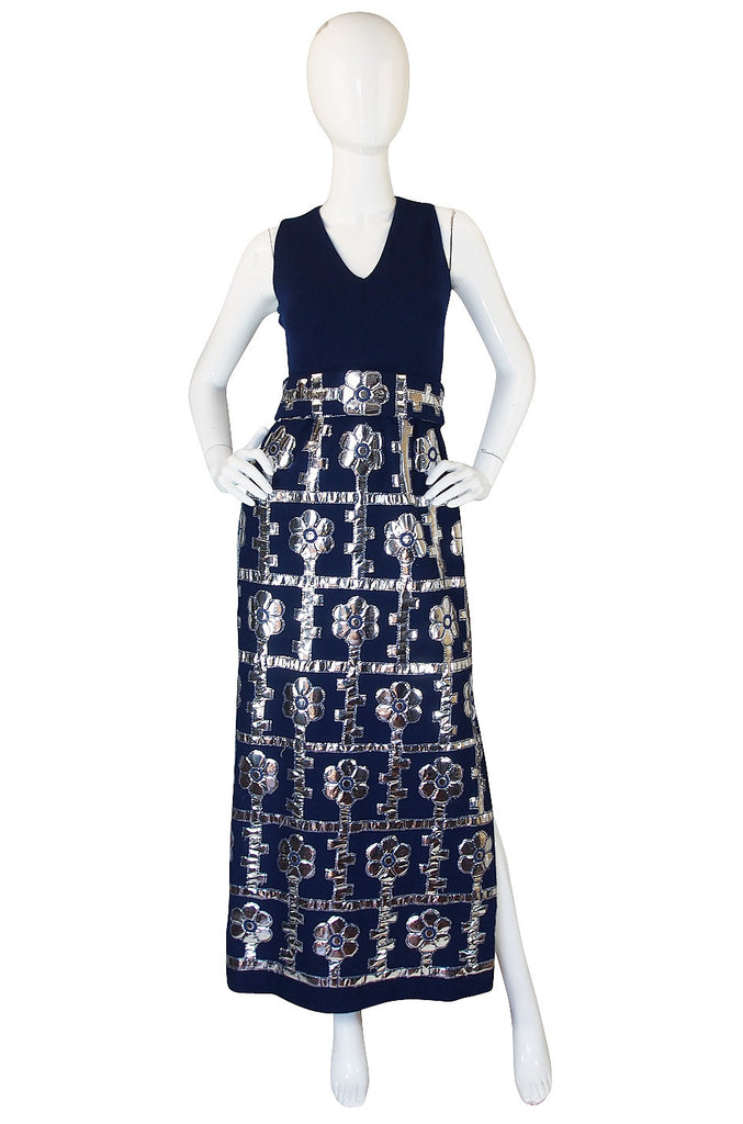 1960s Brenner Couture Silver & Navy Mod Maxi Dress