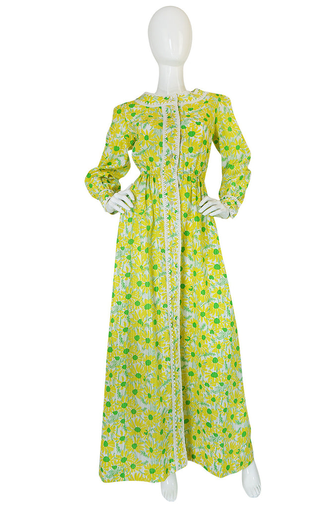 "Early 1960s ""The Lilly"" Lilly Pulitzer Yellow & Green Floral Dress"