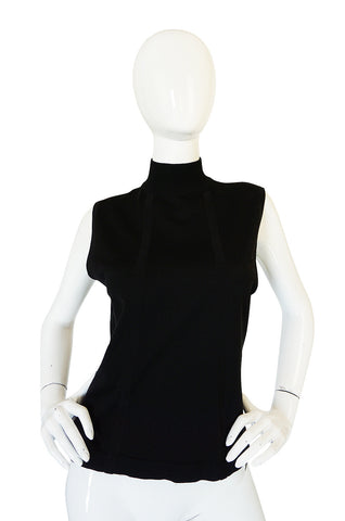1990s Black Cashmere & Silk Knit Chanel Shell Top