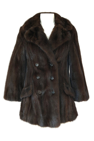 1960s Unlabeled Pierre Cardin Deep Chocolate Fur Pea Jacket or Coat