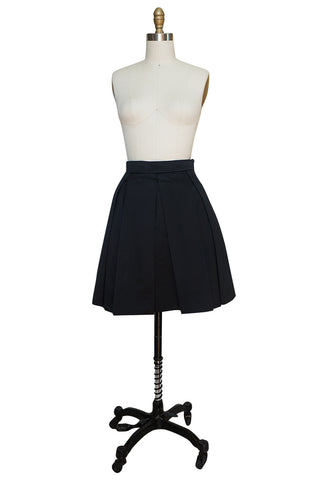 1980s Yves Saint Laurent Flat Pleated Black Mini Skirt