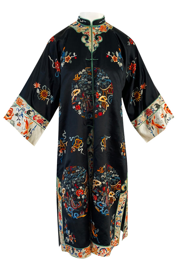 Fabulous 1920s Extensively Hand Embroidered Black Silk Asian Evening Coat