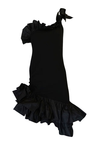 1980s Yves Saint Laurent Black Ruffled One Shoulder Dress