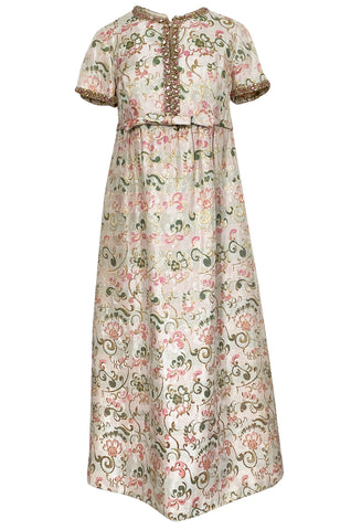 1960s Nat Kaplan Silk Brocade Midi Dress w Elaborate Crystal Detailing