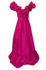 1980s Loris Azzaro Couture Bright Pink Silk Taffeta Backless Plunge Dress