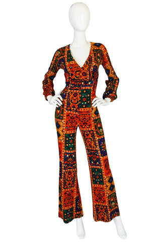 "Rare c1975 Printed Willi Smith ""Digits"" Jumpsuit"