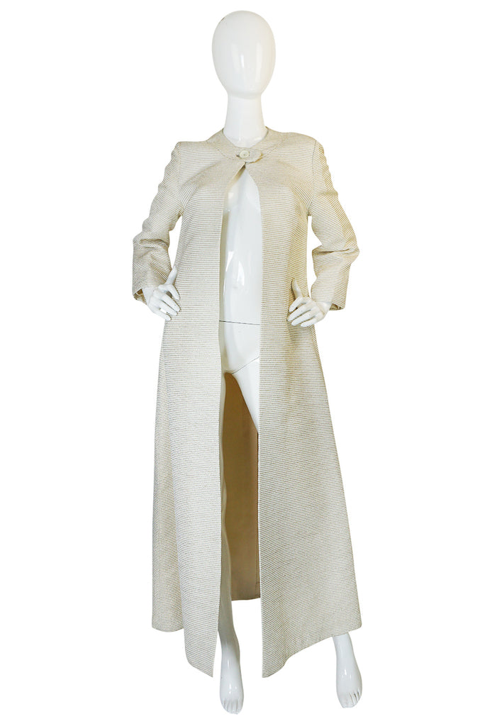 Regal 1960s Cream & Gold Thread Evening Opera Coat