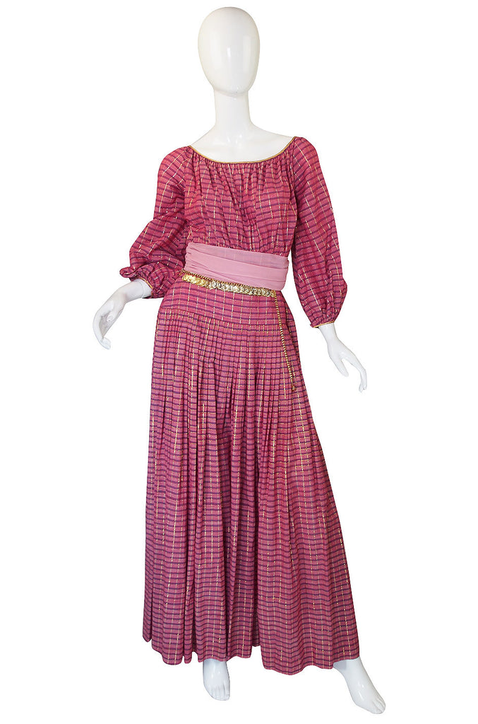 1960s Pat Sandler Pink & Gold Maxi Dress