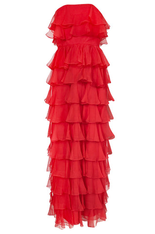 c.1977 Valentino Strapless Silk Chiffon Red Ruffle Full Length Dress