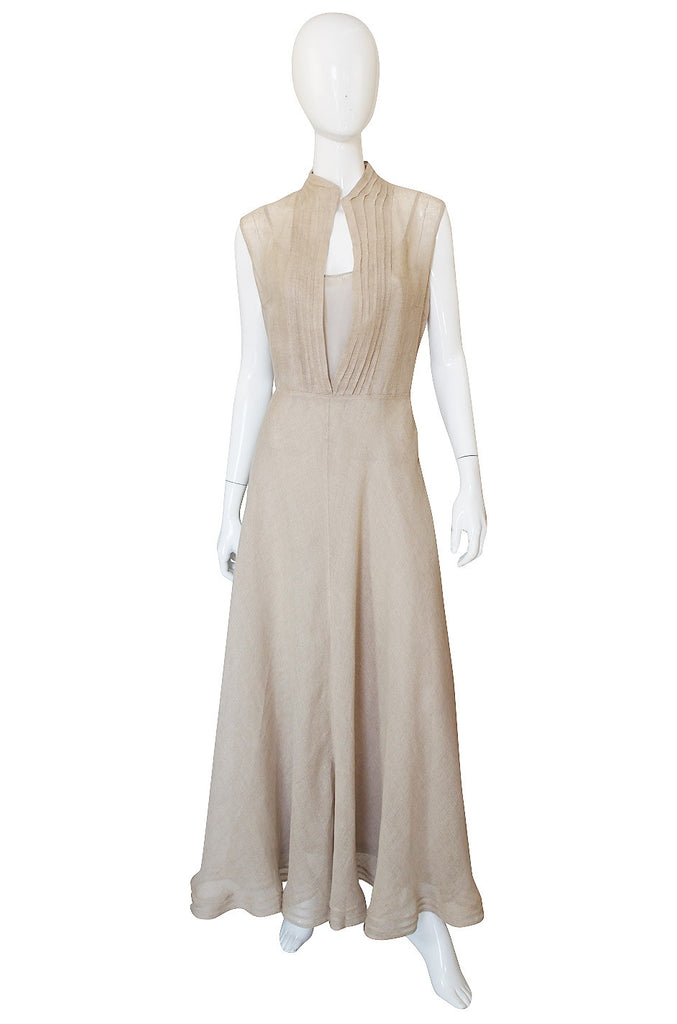 1990s Deep Plunge Linen Genny Maxi Dress