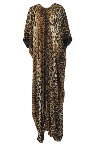 Spring 2002 Tom Ford For Yves Saint Laurent Leopard Bias Cut Silk Caftan Dress