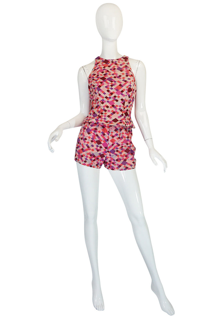 Late 1950s Emilo Pucci Pink Silk Shorts and Shell Set