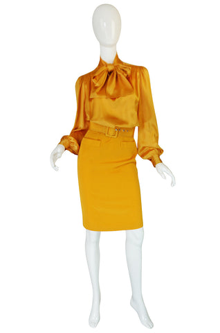 1970s Yves Saint Laurent Silk Skirt & Top Set in Yellow