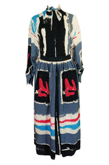 1980s Michaele Vollbracht Too Printed Silk Skirt & Top Set