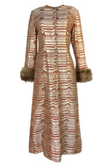 Fall 1968 Oscar de la Renta Metallic Gold Silk Brocade Caftan Dress