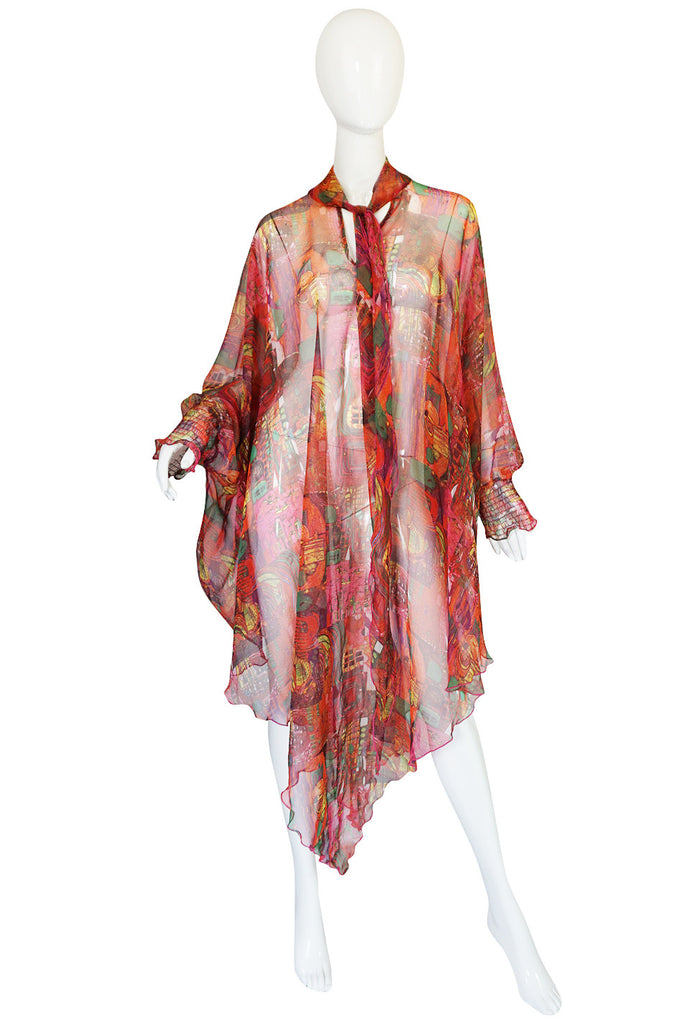 1970s Printed Chiffon Cover Up Cape Poncho