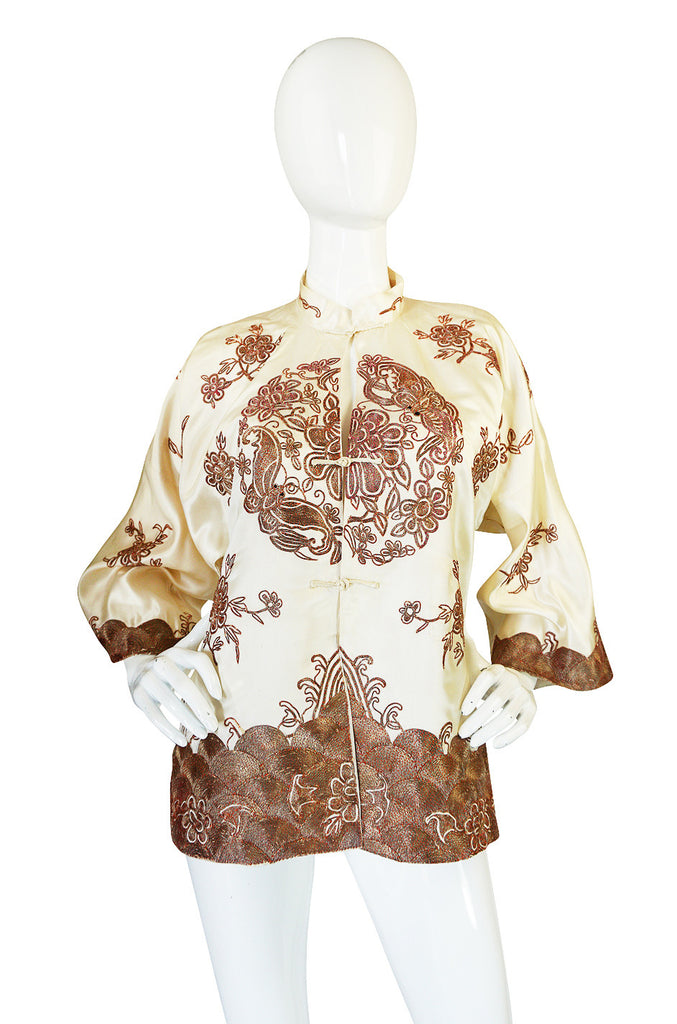 1930s Silk & Emroidered Metal Thread Asian Jacket