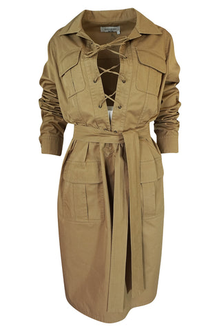 2002 Tom Ford for Yves Saint Laurent Reissue Khaki Safari Dress