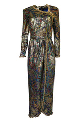 Fall 1990 Oscar de la Renta Printed Metallic Silk Dress w Brass Bell Edging