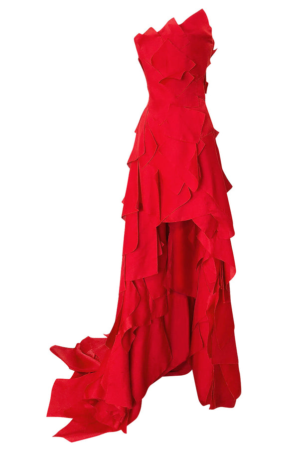 Extraordinary Fall 2001 Jean Louis Scherrer Haute Couture Red 'Petal' Actual Runway Dress