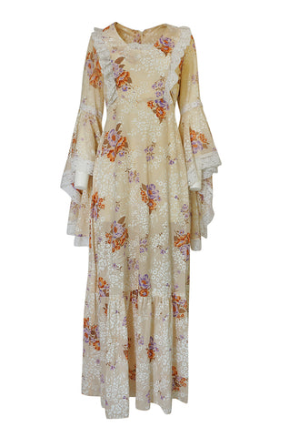 1970s Printed Angel Sleeve Floral Print Cotton Dress
