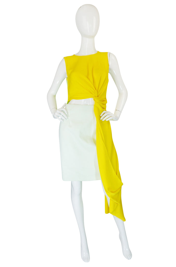 Spring 2014 Roksanda Ilinčić Yellow Draped Colorblock 'Layton' Dress