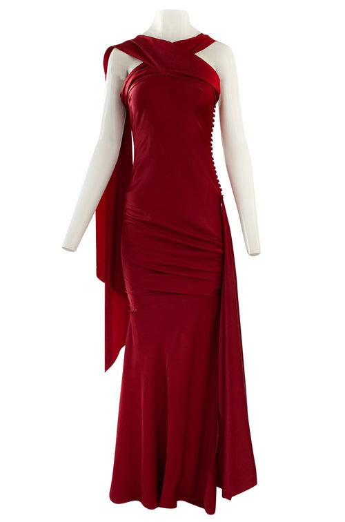 Early 2000s Dior Christian Dior by John Galliano Deep Red Satin Finish Bias Cut Dress w Extended Panel