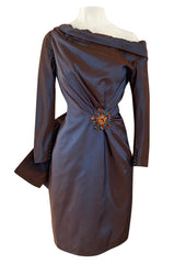 Fall 1990 Christian Lacroix Haute Couture Silk Taffeta Backless Dress w Jewelled Brooches