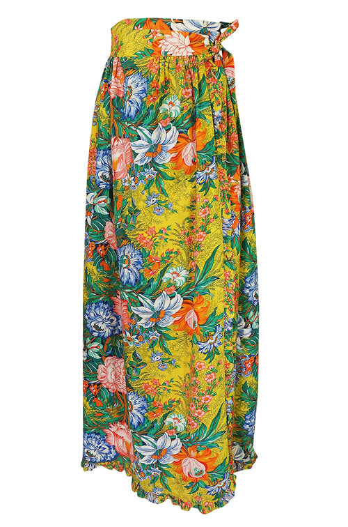 1970s Stephen Burrows Floral Cotton Print Wrap Maxi Skirt