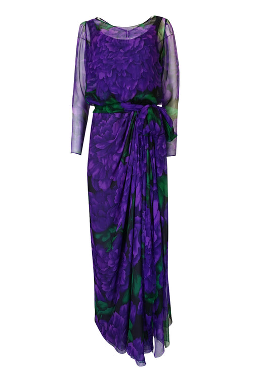 Extraordinary 1970s James Galanos Purple Silk Chiffon Demi-Couture Dress