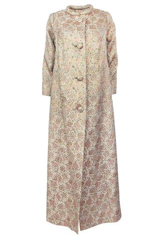 1960s Unlabeled Pink & Gold Metallic Silk Brocade Maxi Coat