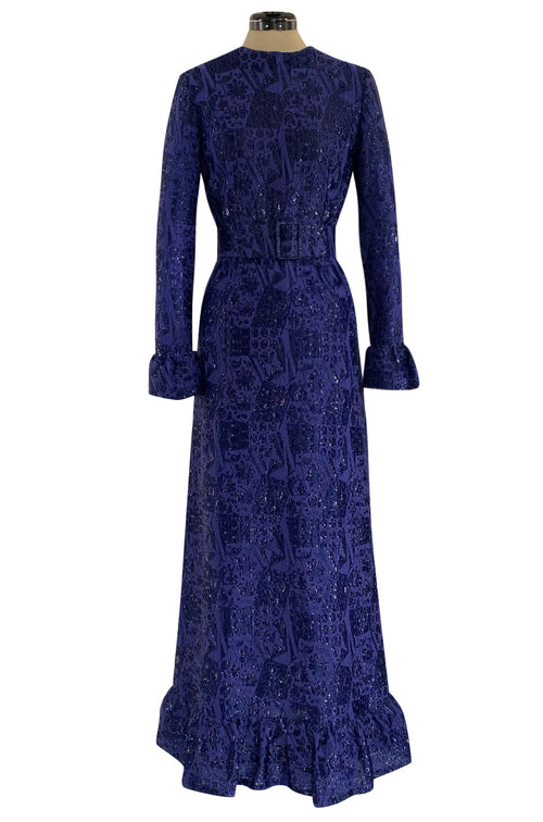 Extraordinary 1971 Givenchy Azure Blue Woven Silk & Metallic Thread Dress w Ruffled Cuffs & Hem