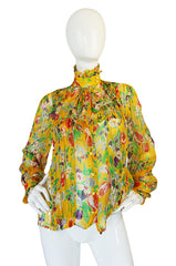 1980s Emanuel Ungaro Yellow Floral Printed Silk Ribbon Chiffon Ascot Top