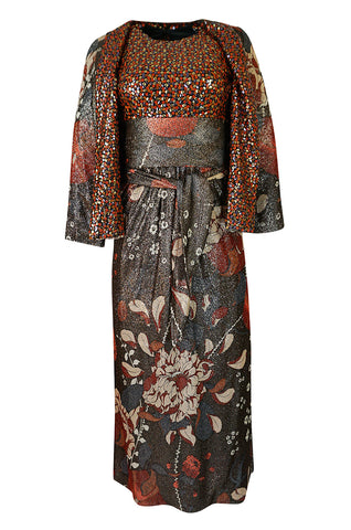 1960s Bill Blass Floral Print Metallic Lurex & Sequin Dress Set