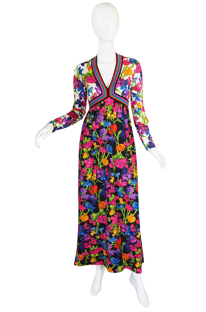 1960s Multi Color Goldworm Plunge Maxi Dress