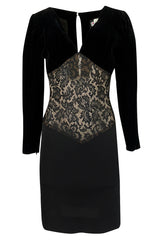 1980s Yves Saint Laurent Black Velvet, Lace & Jersey Dress