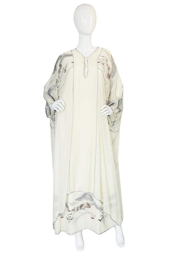 1970s Janice Wainwright Cream Embroidered Caftan Dress