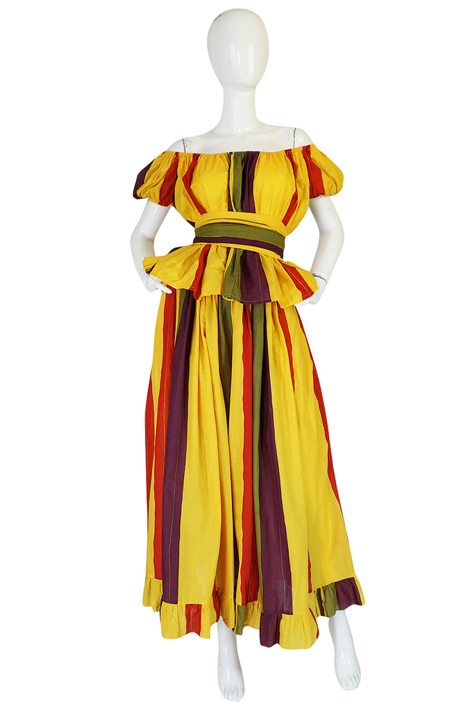 1970s Marc Bohan for Christian Dior Striped Cotton Dress Set