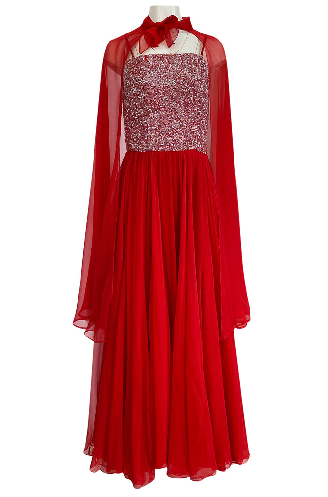 1960s Unlabeled Red Silk Chiffon & Sequin Dress w Matching Cape