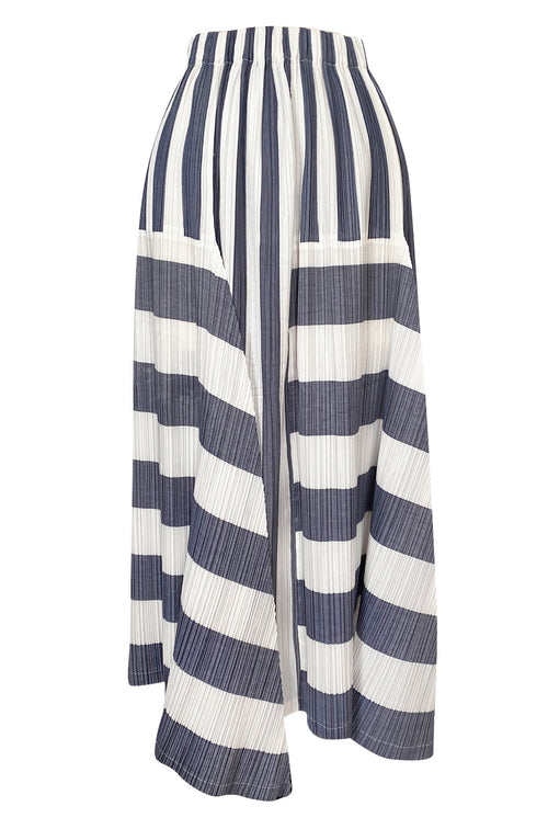 Early 1990s Issey Miyake Graphic Gray & White Elaborately Pleated Midi Skirt