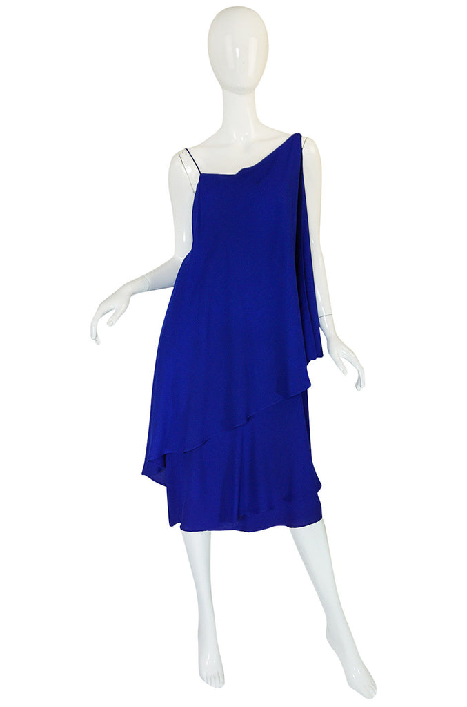 1980-82 Ruffled Halston Spiral Dress in Royal Blue Silk