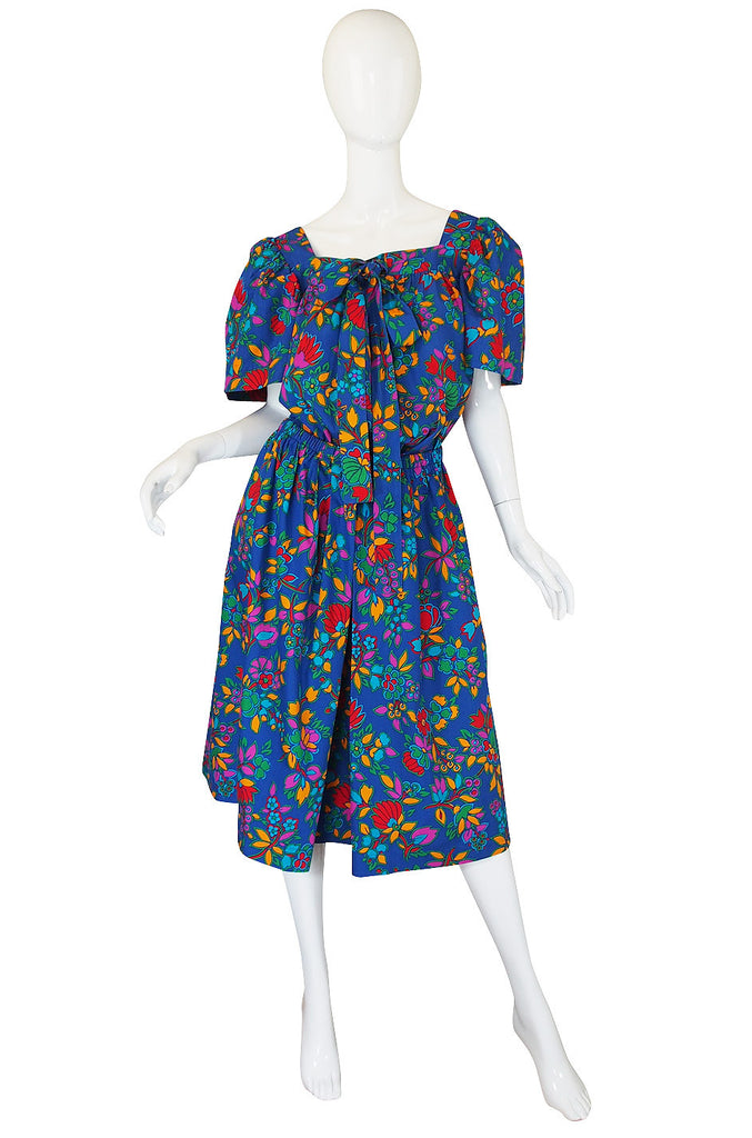 1970s Yves Saint Laurent Print Top & Skirt Set