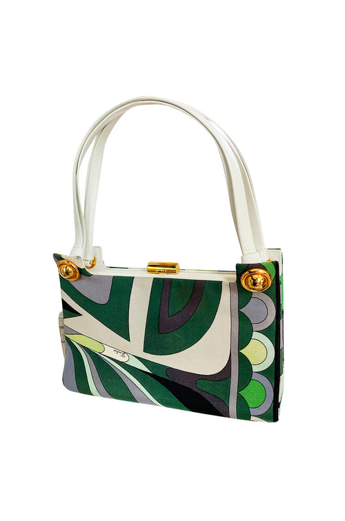 1960s Emilio Pucci Deep Green Silk Bag w White Handles - 25% OFF TAKEN AT CHECKOUT