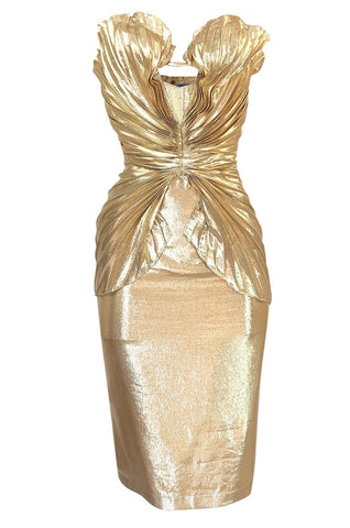 Rare Spring 1985 Thierry Mugler Bombshell Pleated Gold Lurex 'Shell' Dress