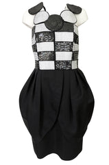 1980s Louis Feraud Graphic Dot & Block Sequin Bubble Skirt Dress