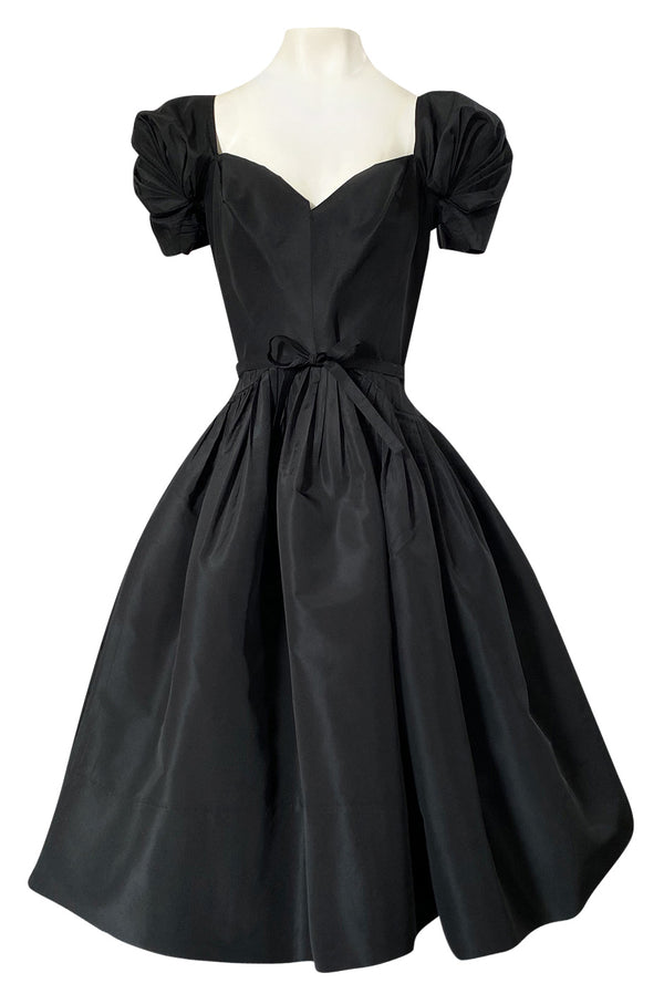 1950s Unlabeled Very Well Made Black Silk Full Skirted Silk Cocktail Dress