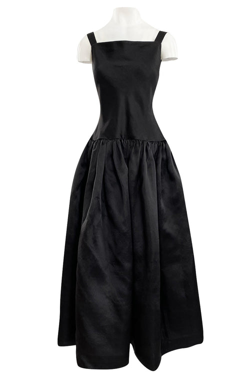 1980s Oscar De La Renta Black Silk Taffeta Dropped Waist Full Skirt Dress w Button Back